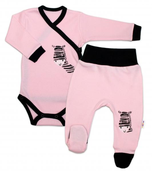 Baby Nellys 2-dielna sada body dl. rukáv + polodupačky, ružová - Zebra, veľ. 62