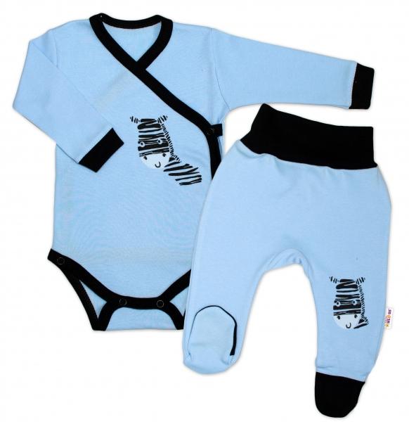 Baby Nellys 2-dielna sada body dl. rukáv + polodupačky, modrá - Zebra, veľ. 56