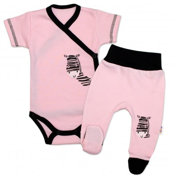 Baby Nellys 2-dielna sada body kr. rukáv + polodupačky, ružová - Zebra-50 (0-1m)