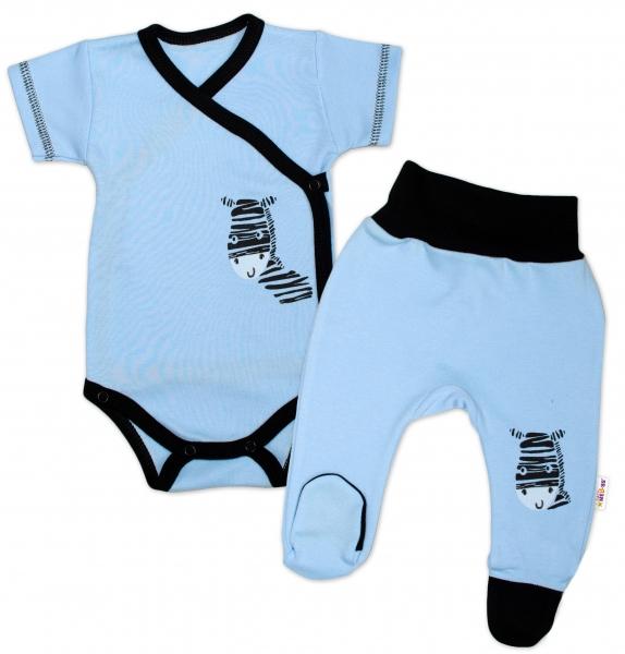 Baby Nellys 2-dielna sada body kr. rukáv + polodupačky, modrá - Zebra-50 (0-1m)
