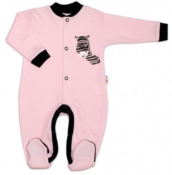 Baby Nellys Bavlnený overal Zebra - ružový-#Velikost koj. oblečení;50 (0-1m)