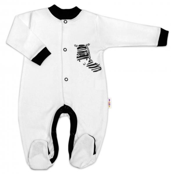 Baby Nellys Bavlnený overal Zebra - bielý, vel. 80-80 (9-12m)