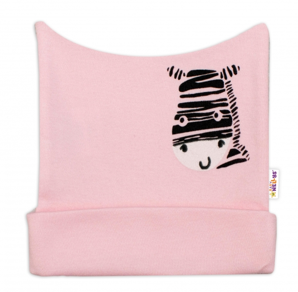 Novorodenecká čiapočka Baby Nellys, Zebra - ružová-50 (0-1m)
