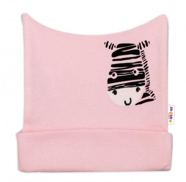Novorodenecká čiapočka Baby Nellys, Zebra - ružová, veľ. 62-62 (2-3m)