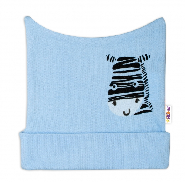 Novorodenecká čiapočka Baby Nellys, Zebra - modrá-50 (0-1m)