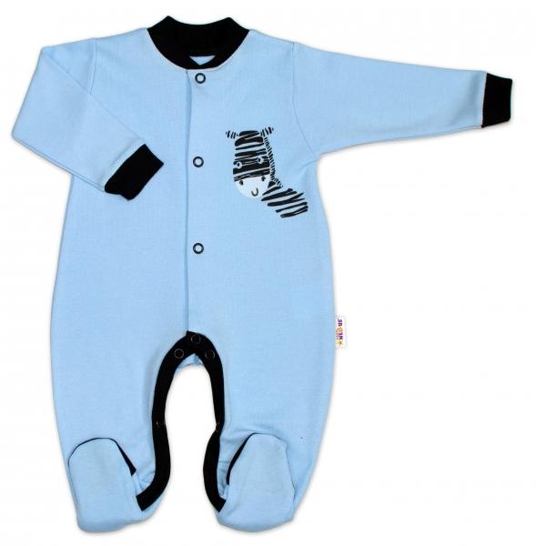 Baby Nellys Bavlnený overal Zebra - modrý-50 (0-1m)