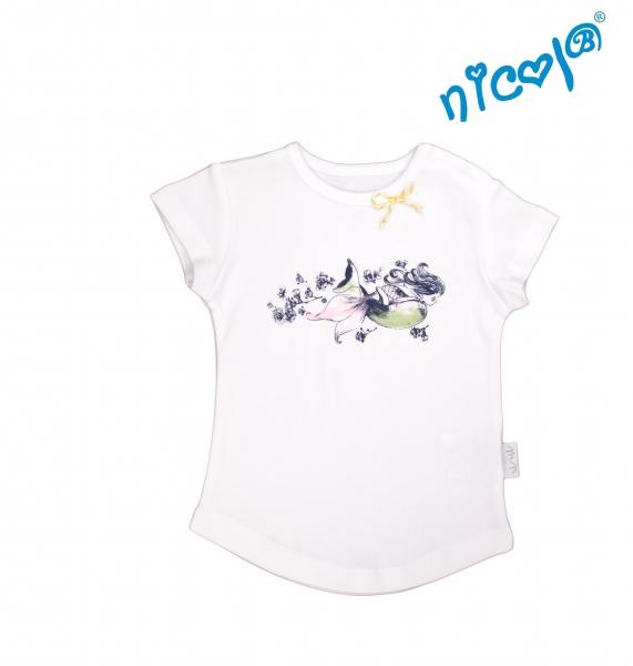 Bavlnené tričko Nicol, Morská víla - krátky rukáv, biele-56 (1-2m)