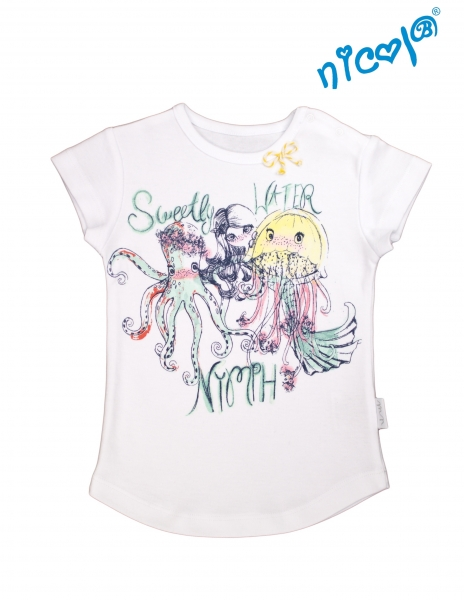 Bavlnené tričko Nicol, Morská víla - krátky rukáv, biele, veľ. 98