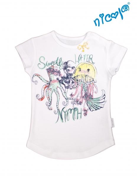 Bavlnené tričko Nicol, Morská víla - krátky rukáv, biele, veľ. 116
