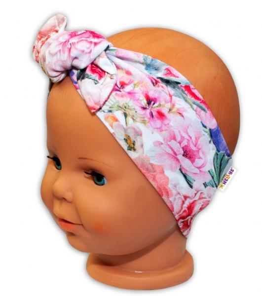 Baby Nellys Čelenka na zaväzovanie Kvety - ružové-0/3měsíců