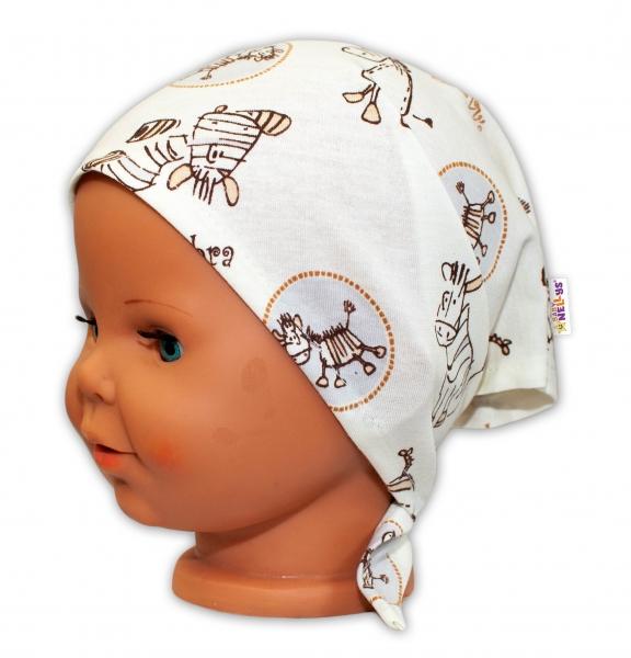 Baby Nellys Detská šatka na zaväzovanie Zebra - smotanová