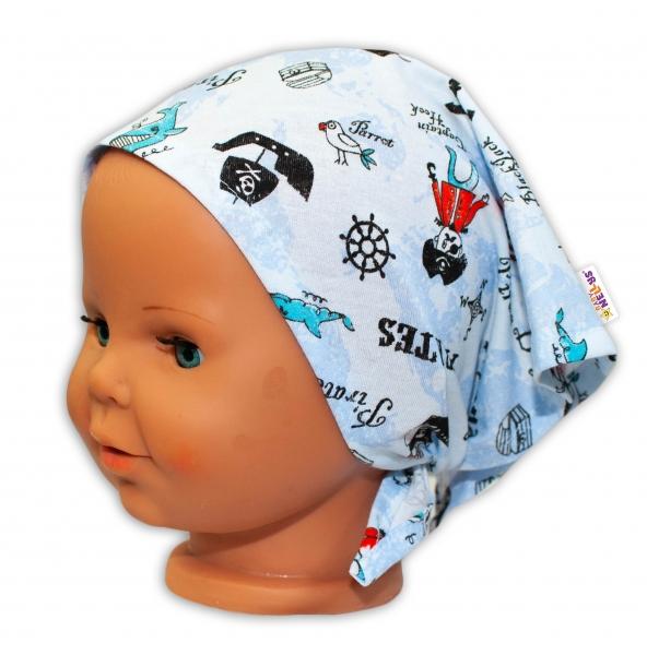 Baby Nellys Detská šatka na zaväzovanie Pirát - sv. modrý