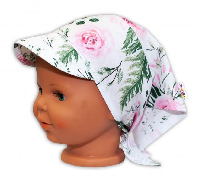 Baby Nellys Detská šatka so šiltom na zaväzovanie Kvety - ružový