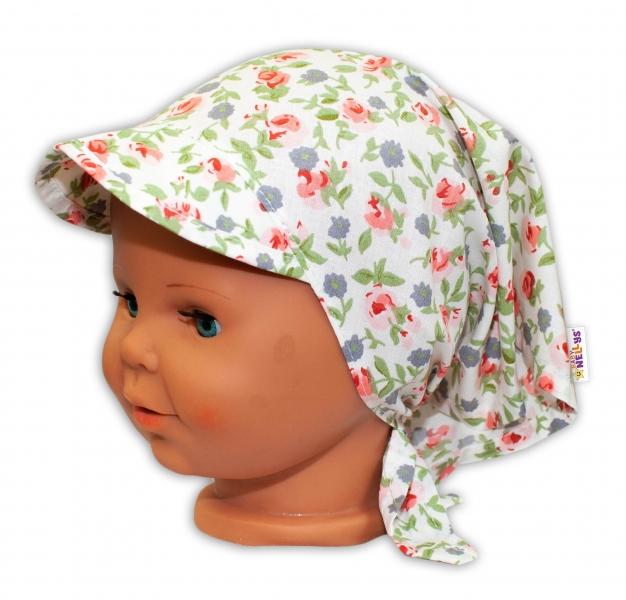 Baby Nellys Detská šatka so šiltom na zaväzovanie Kvetinky - biele