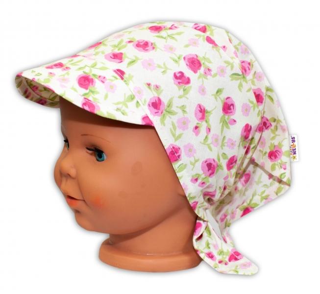 Baby Nellys Detská šatka so šiltom na zaväzovanie Kvetinky - smotanové