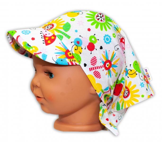 Baby Nellys Detská šatka so šiltom na zaväzovanie Lúka - farebná