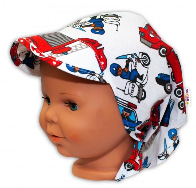 Baby Nellys Detská šatka so šiltom na zaväzovanie Polícia - modrý