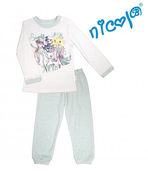 Detské pyžamo Nicol dl. rukáv, Morská víla - bielo/mätové, veľ. 116