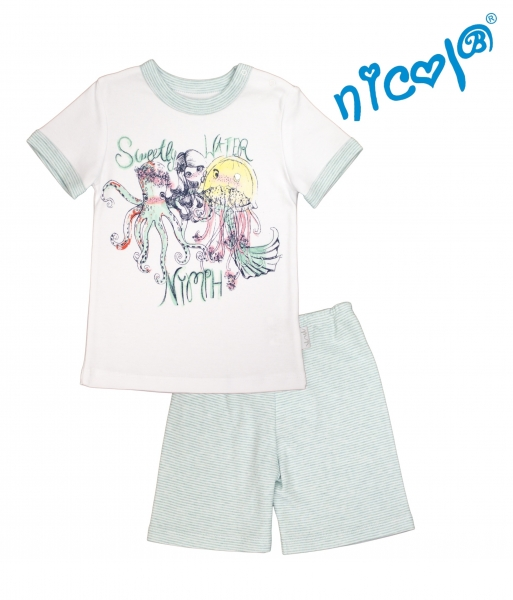 Detské pyžamo Nicol kr. rukáv/kraťasky, Morská víla - bielo/mätové, veľ. 122