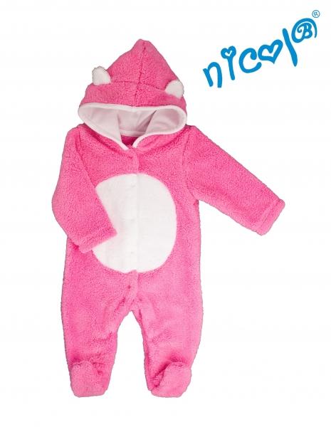 Dojčenský overal / kombinéza Nicol s kapucňou, oteplenie, Morská víla - růžový