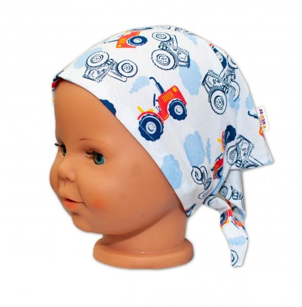 Baby Nellys Detská šatka na zaväzovanie Traktor - bielý