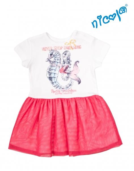 Dojčenské šaty Nicol, Morská víla - červeno/biele, veľ. 74