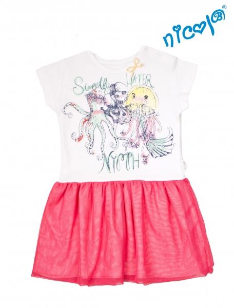 Detské šaty Nicol, Morská víla - červeno/biele, veľ. 110