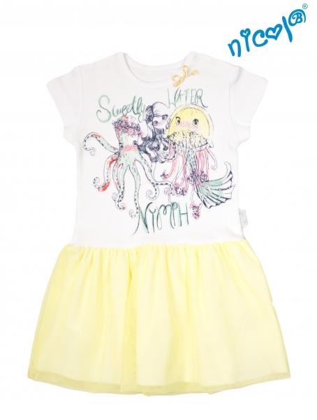 Detské šaty Nicol, Morská víla - žlto/biele, veľ. 110-110