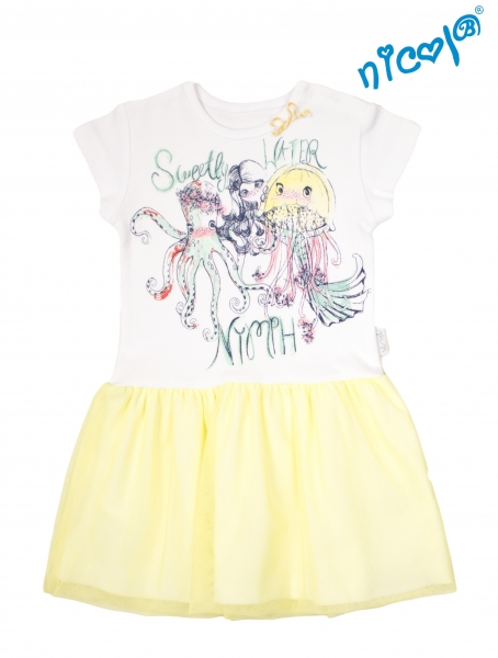 Detské šaty Nicol, Morská víla - žlto/biele, veľ. 116