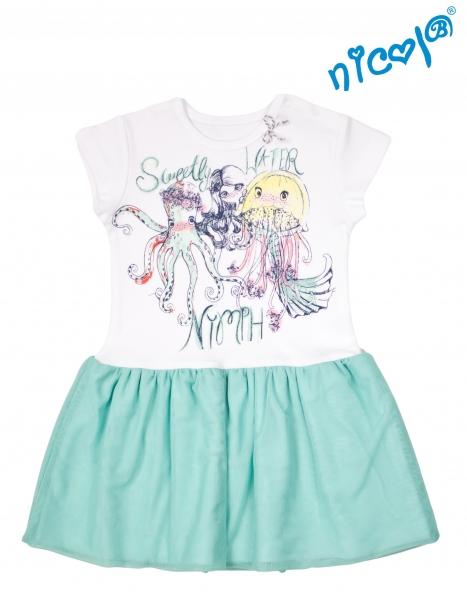 Detské šaty Nicol, Morská víla - zeleno/biele, veľ. 110-110