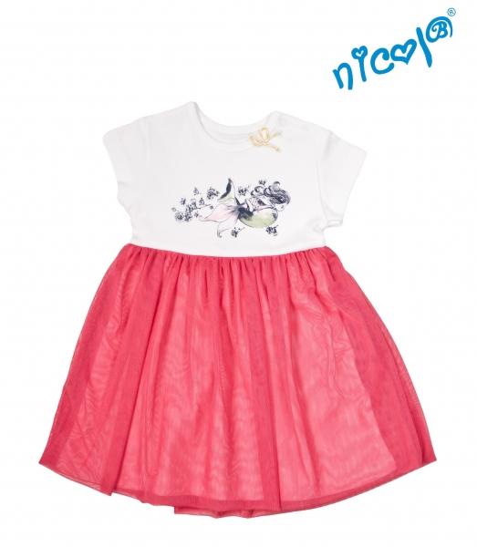 Detské šaty Nicol, Morská víla - červeno/biele, veľ. 104-104