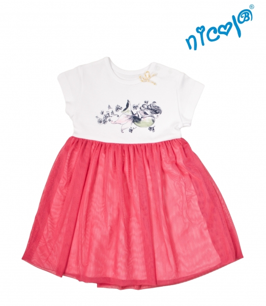 Detské šaty Nicol, Morská víla - červeno/biele