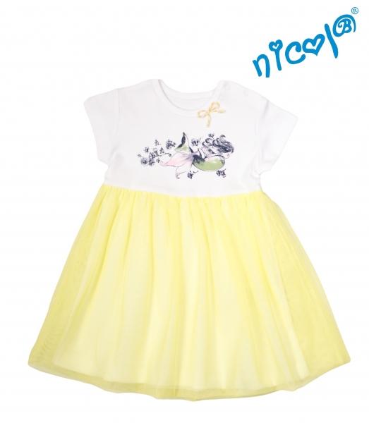Dojčenské šaty Nicol, Morská víla - žlto/biele, veľ. 62-62 (2-3m)