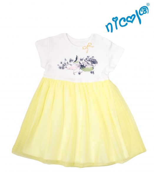 Detské šaty Nicol, Morská víla - žlto/biele, veľ. 122