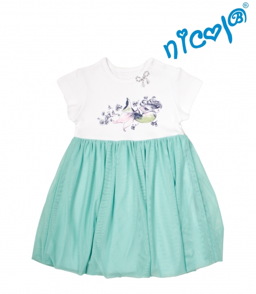 Detské šaty Nicol, Morská víla - zeleno/biele, veľ. 128