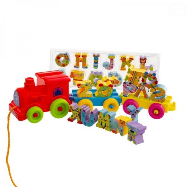 Ťahacia hračka Euro Baby Vláčik - abeceda