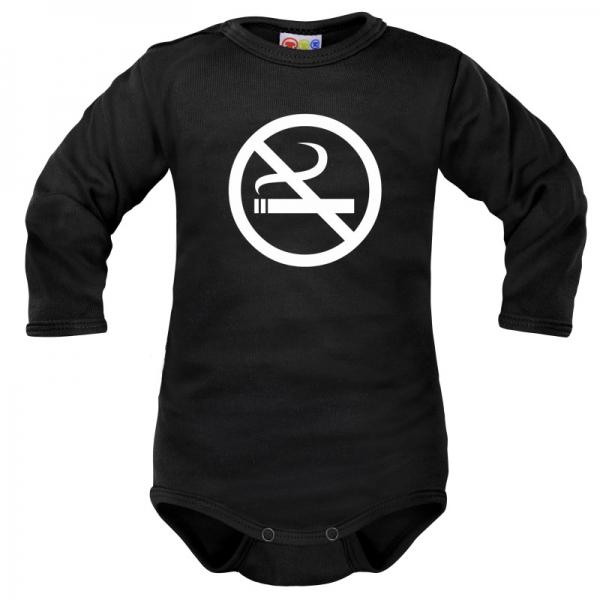Body dlhý rukáv Dejna No Smoking - čierne, vel. 86-86 (12-18m)
