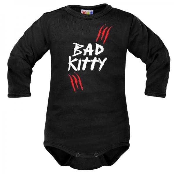 Body dlhý rukáv Dejna Bad Kitty  - čierne, veľ. 80