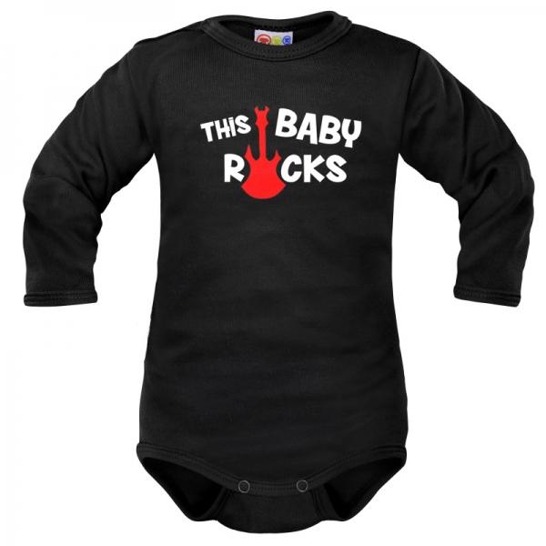 Body dlhý rukáv Dejna This Baby Rocks - čierne, veľ. 68