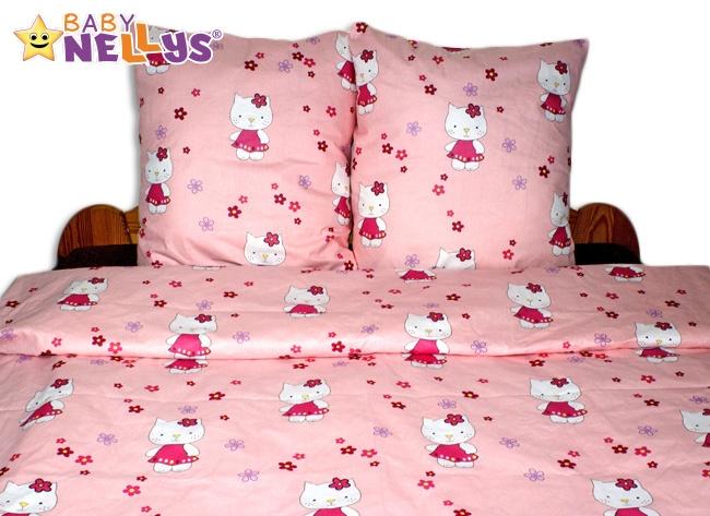 Bavlnené obliečky 140x200 - Mačička v ružovej