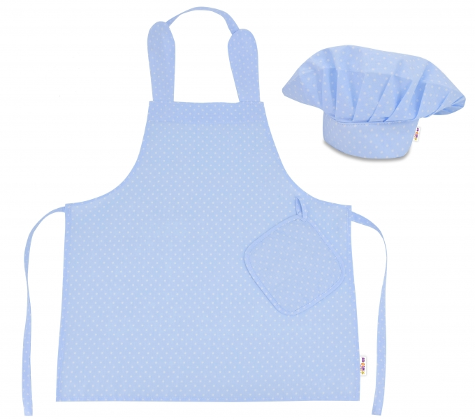 Kuchárska sada Junior MasterChef - zástera + čiapka + rukavice, modrá /biele bodky