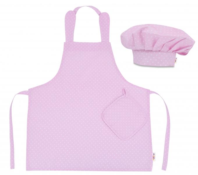 Kuchárska sada Junior MasterChef - zástera + čiapka + rukavice, růžová/biele bodky