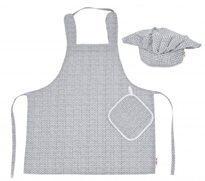 Kuchárska sada Junior MasterChef - zástera + čiapka + rukavice, sivá - svetríkový vzor