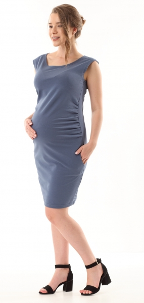Gregx Elegantné tehotenské šaty bez rukávov - jeans, veľ. XL/XXL