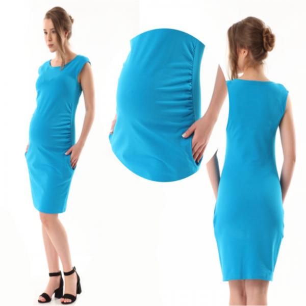 Gregx Elegantné tehotenské šaty bez rukávov - tm. sivá, veľ. XXXL
