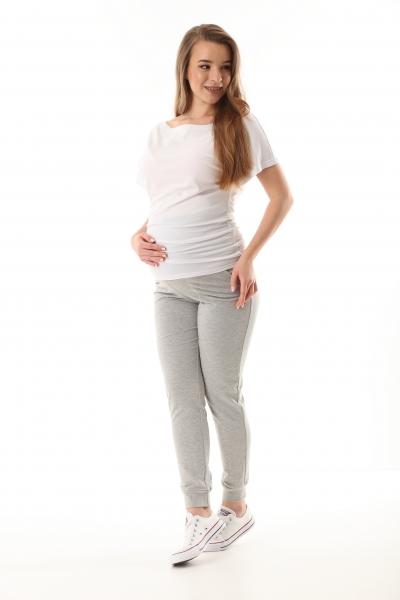 Tehotenské nohavice/tepláky Gregx, Vigo s vreckami - sivé