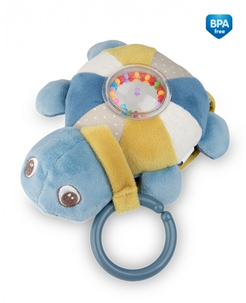 Závesná plyšová svietiaca hračka s melódiu a hrkálkou Canpol Babies Korytnačka - modrá