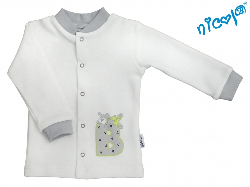 Bavlnená košieľka Nicol, Boy - smotanová/sivá, veľ. 56-56 (1-2m)