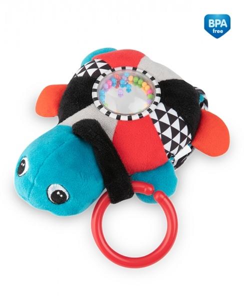 Závesná plyšová svietiaca hračka s melódiu a hrkálkou Canpol Babies Korytnačka - červená
