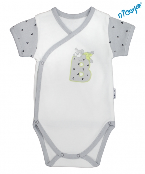 Dojčenské body Nicol - krátky rukáv zap. bokem, Boy -  sivé/smotanová, veľ. 62-62 (2-3m)